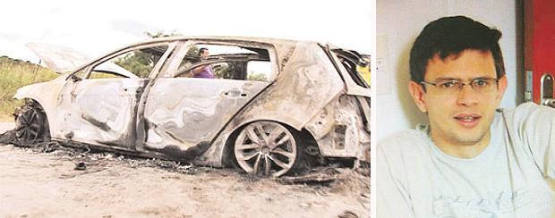 O carro do profissional (D) foi encontrado carbonizado na Guabiraba (TV CLUBE/REPRODUCAO (esq), ARQUIVO PESSOAL (dir))