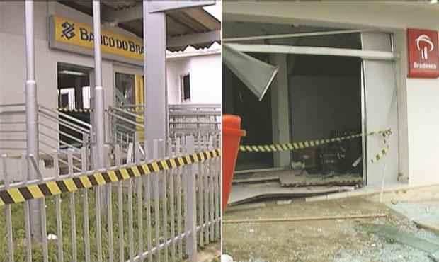 Agências do Banco do Brasil e do Bradesco em Machados foram invadidas e explodidas com minutos de intervalo (REPRODUCAO TV CLUBE)